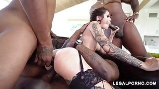The whole gang gets her  pussy stretched